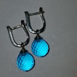 NWOT AUTHENTIC PANDORA BLUE FACETED EARRINGS